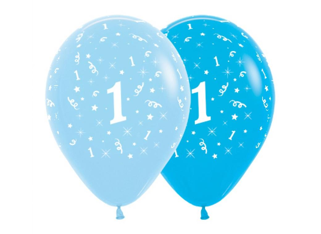 1st Birthday Balloons - Blue 6pk