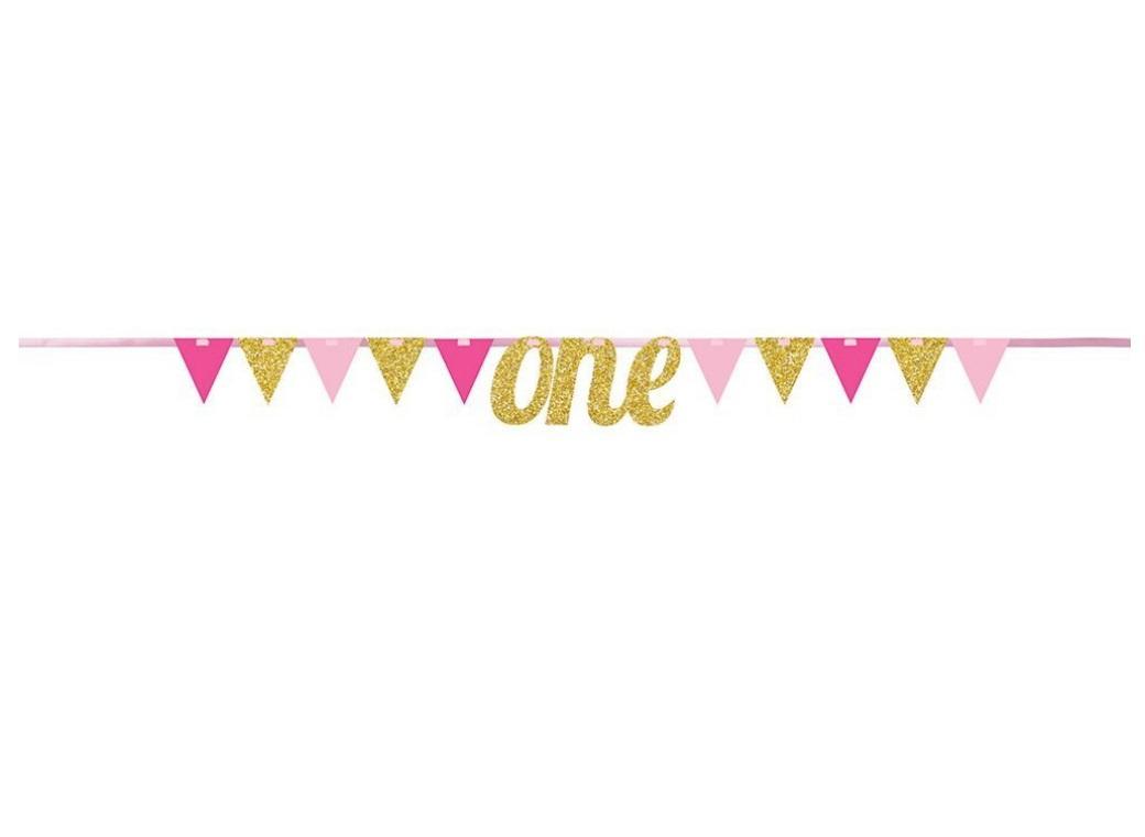 1st Birthday Glitter Banner - Pink