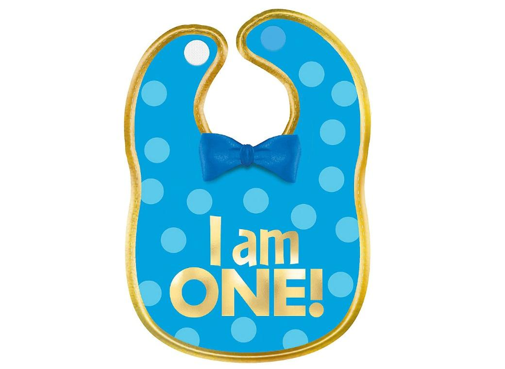 1st Birthday Blue Fabric Bib