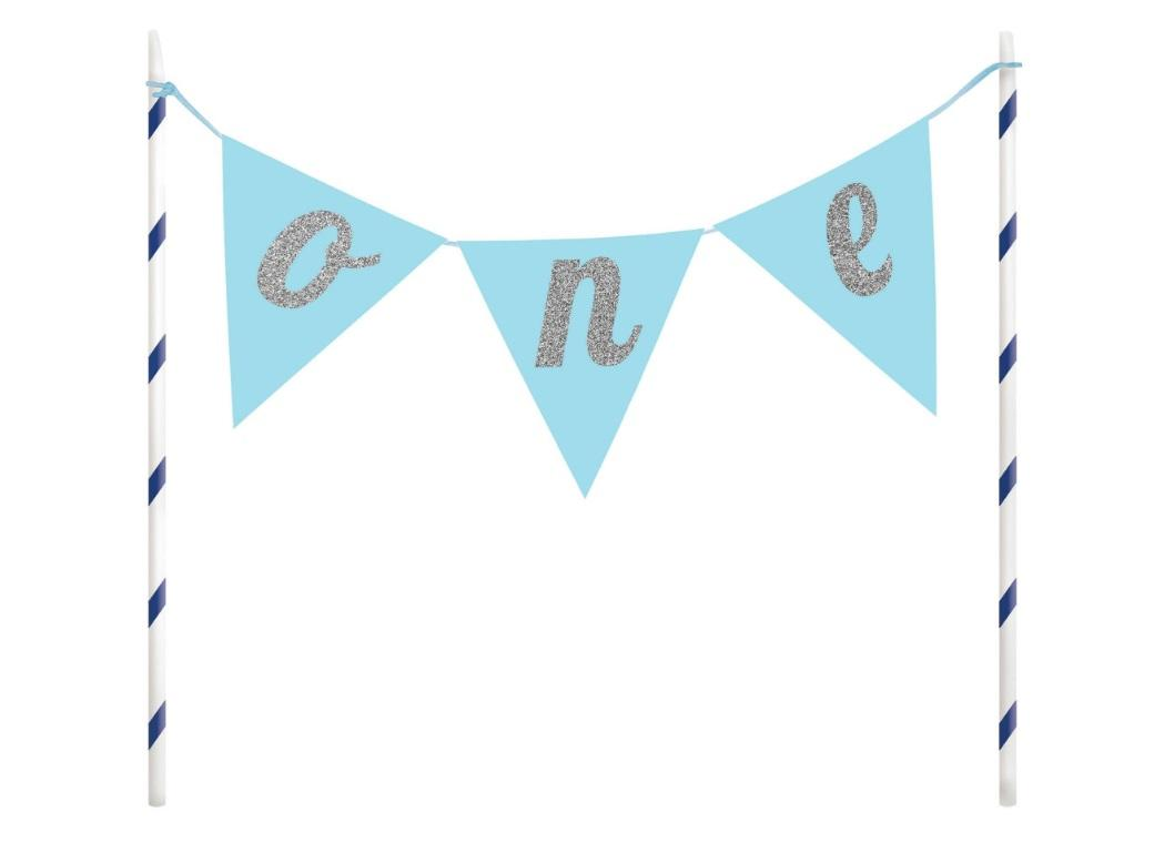 1st Birthday Glitter Cake Topper - Blue