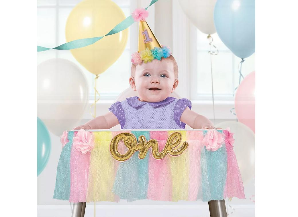 1st Birthday Deluxe High Chair Decoration - Pink & Gold