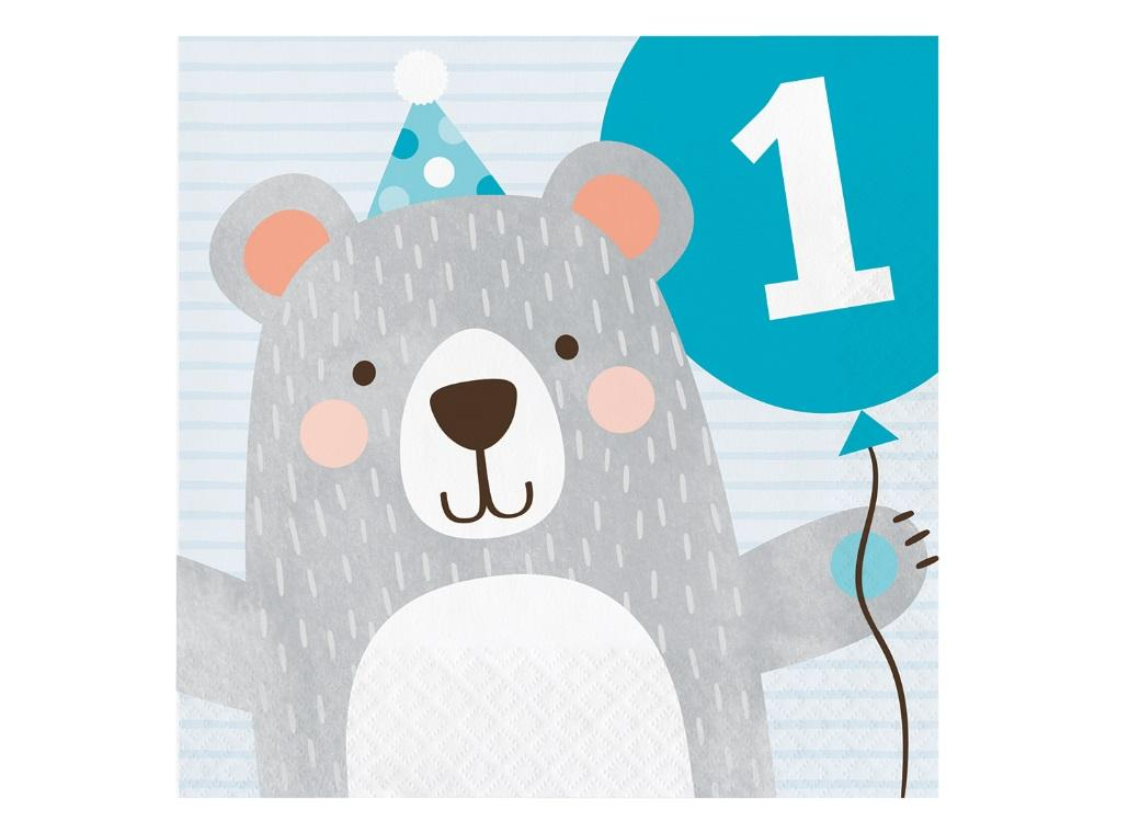 Lil Bear 1st Birthday Lunch Napkins 16pk