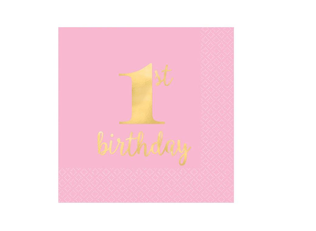 1st Birthday Pink Beverage Napkins 16pk