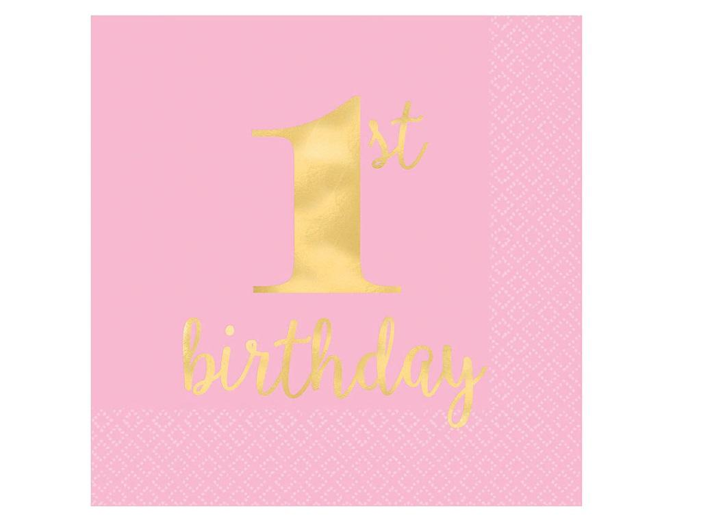 1st Birthday Pink Lunch Napkins 16pk