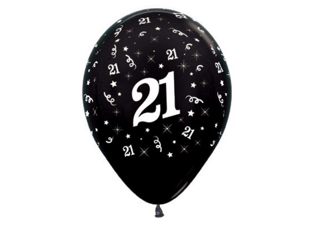 21st Birthday Balloons - Black