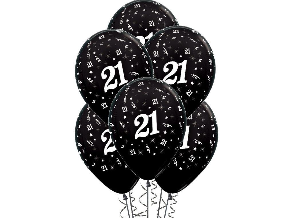 21st Birthday Balloons - Black 6pk