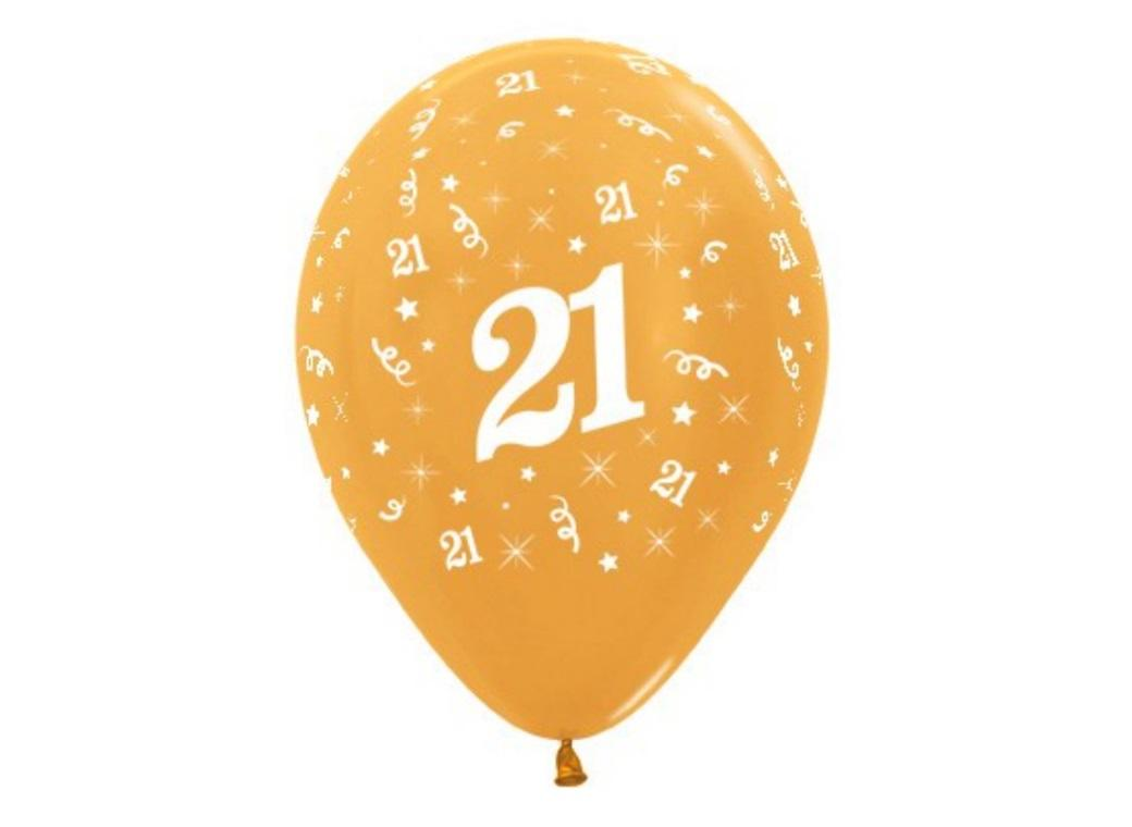 21st Birthday Balloons - Gold