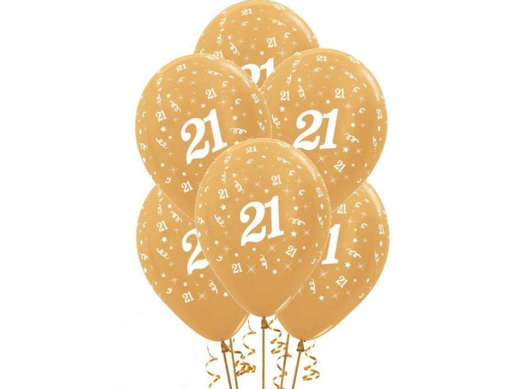 21st Birthday Balloons - Gold 6pk