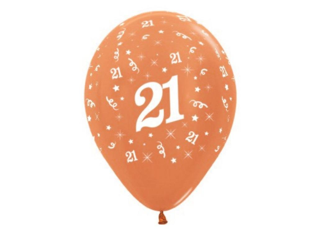 21st Birthday Balloons - Rose Gold