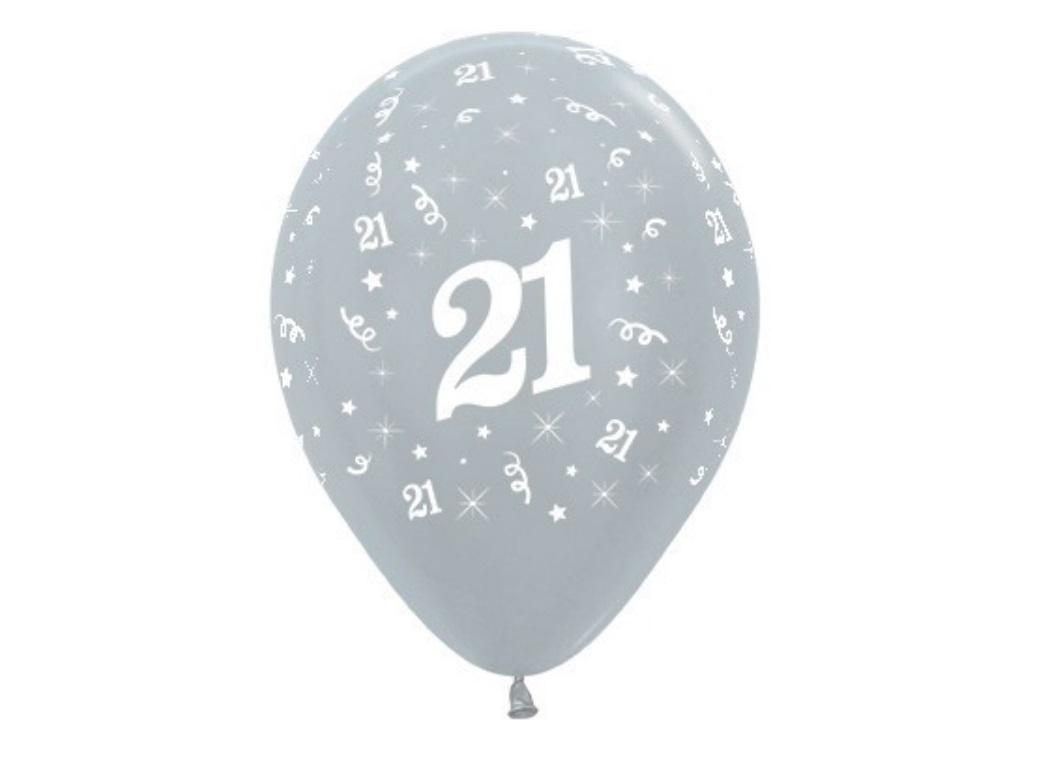 21st Birthday Balloons - Silver