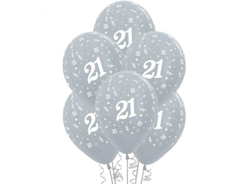 21st Birthday Balloons - Silver 6pk