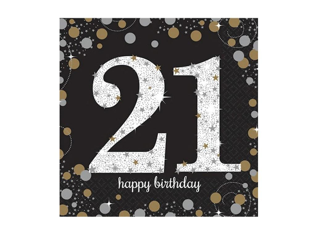 Sparkling 21st Birthday Lunch Napkins 16pk