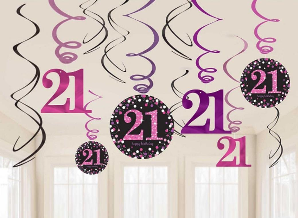 Sparkling Pink 21st Birthday Hanging Swirls
