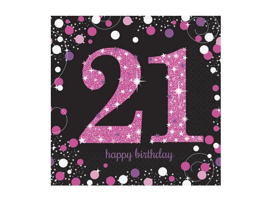 Sparkling Pink 21st Birthday Lunch Napkins 16pk