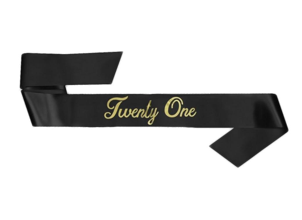 21st Birthday Sash - Black