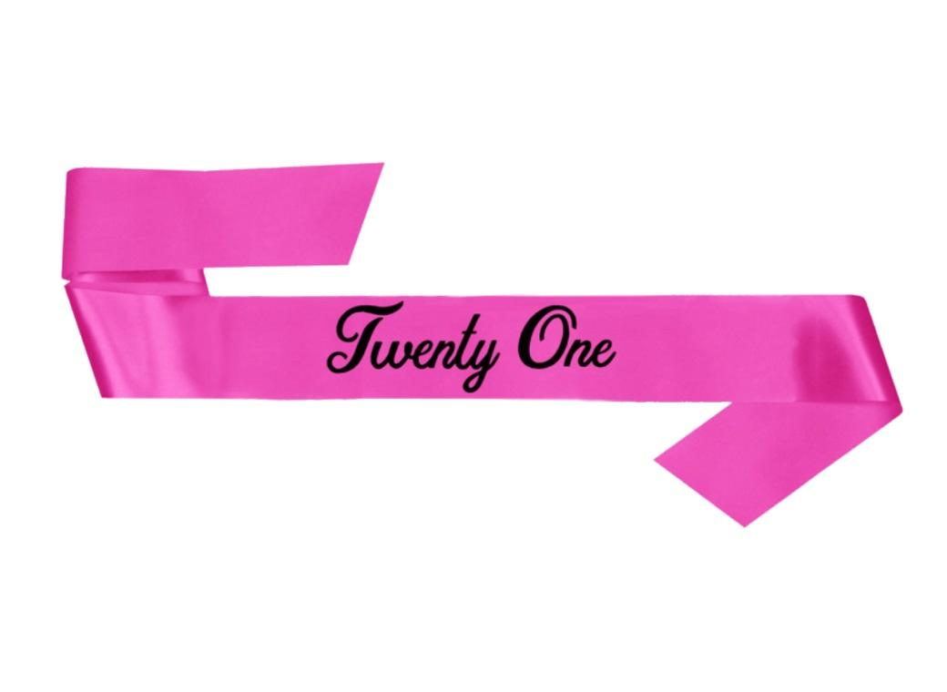 21st Birthday Sash - Pink