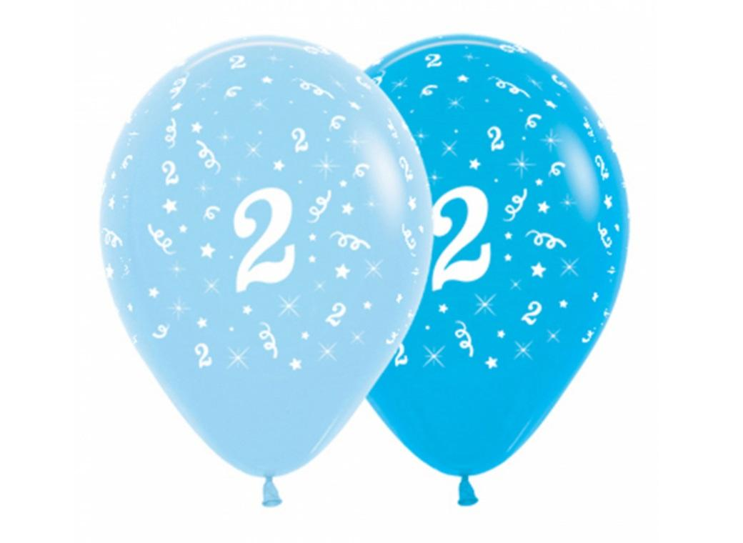 2nd Birthday Balloons - Blue 6pk