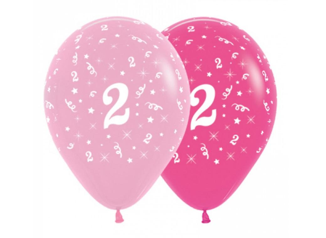 2nd Birthday Balloons - Pink 6pk