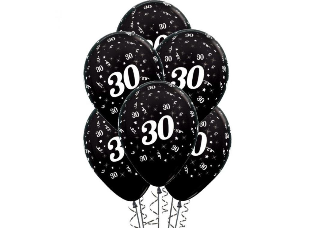 30th Birthday Balloons - Black 6pk