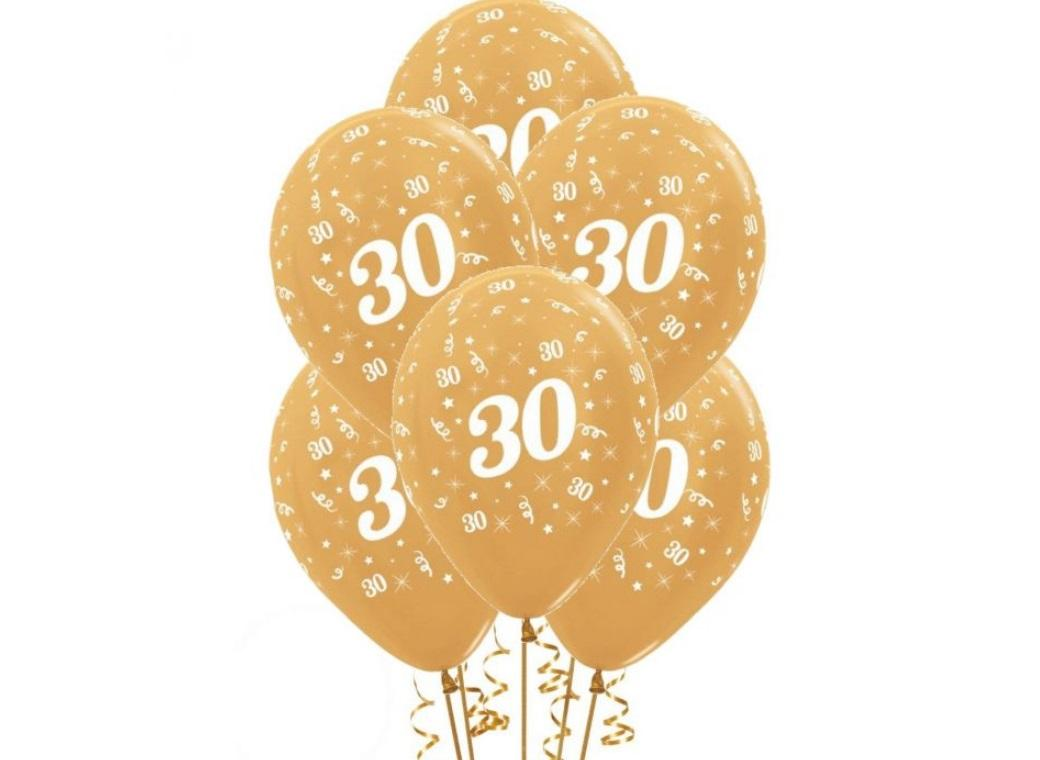 30th Birthday Balloons - Gold 6pk