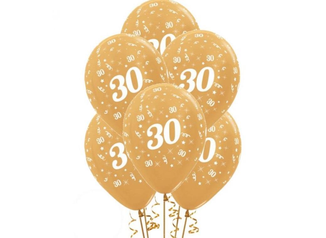 30th Birthday Balloons - Gold 6pk
