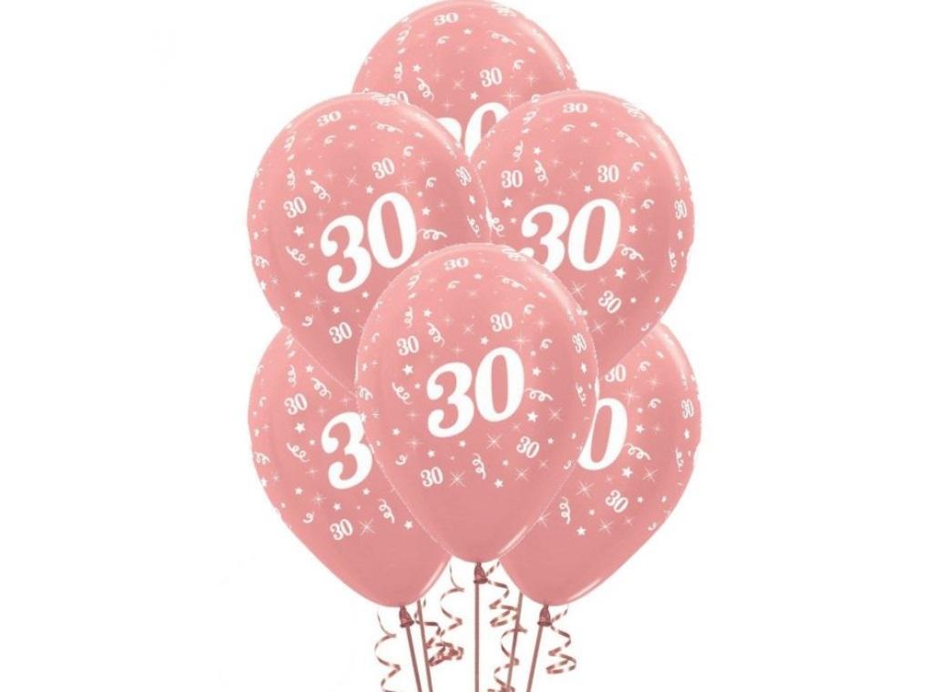 30th Birthday Balloons - Rose Gold 6pk