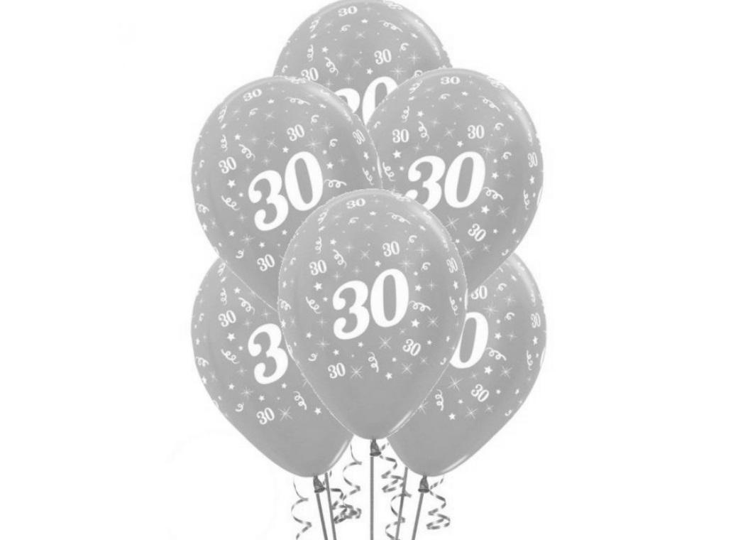 30th Birthday Balloons - Silver 6pk