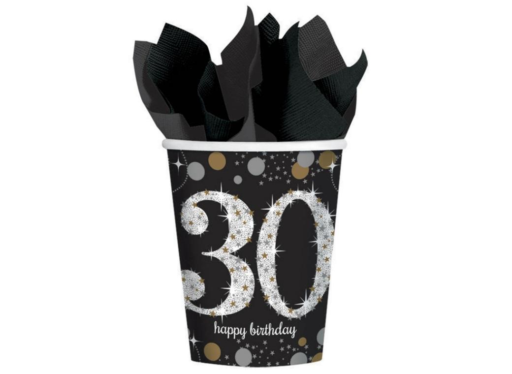 Sparkling 30th Birthday Cups 8pk