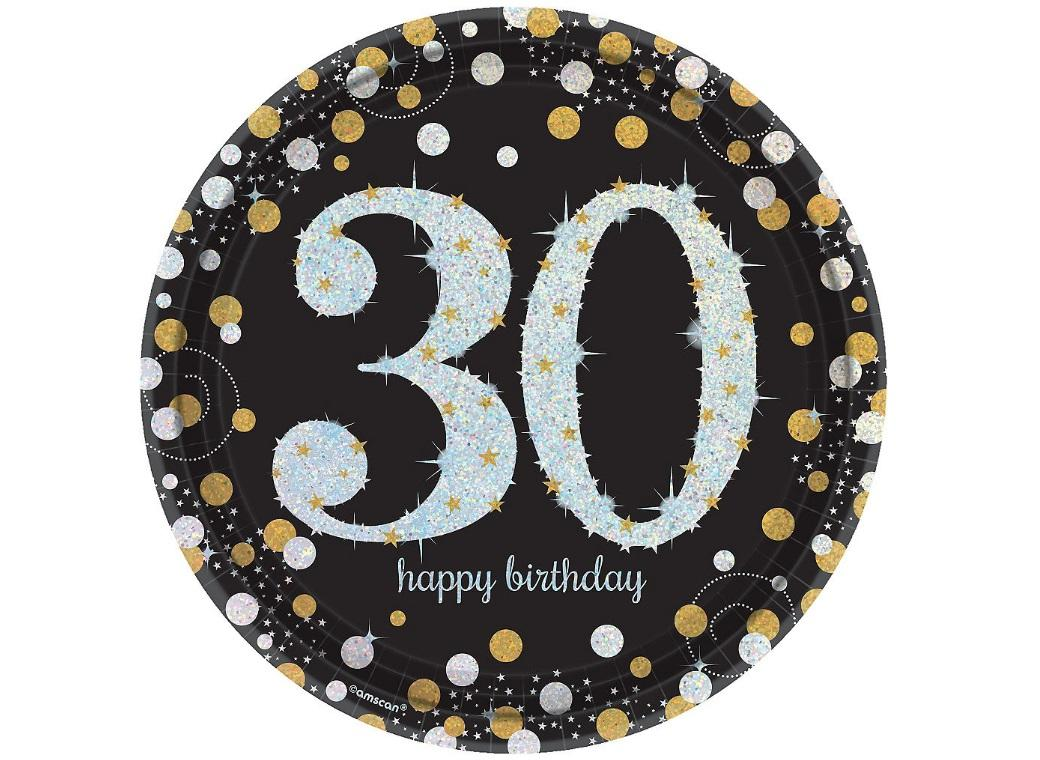 Sparkling 30th Birthday Plates 9pk