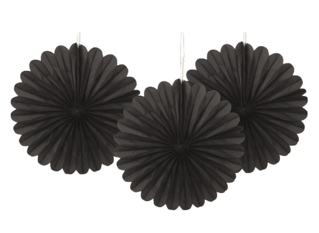 3 Pack Tissue Fans - Black