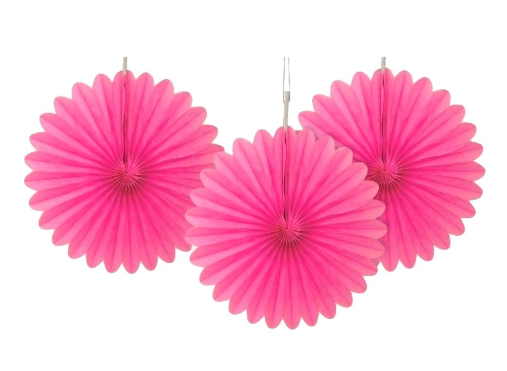 3 Pack Tissue Fans - Hot Pink