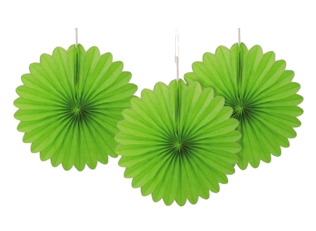 3 Pack Tissue Fans - Lime Green
