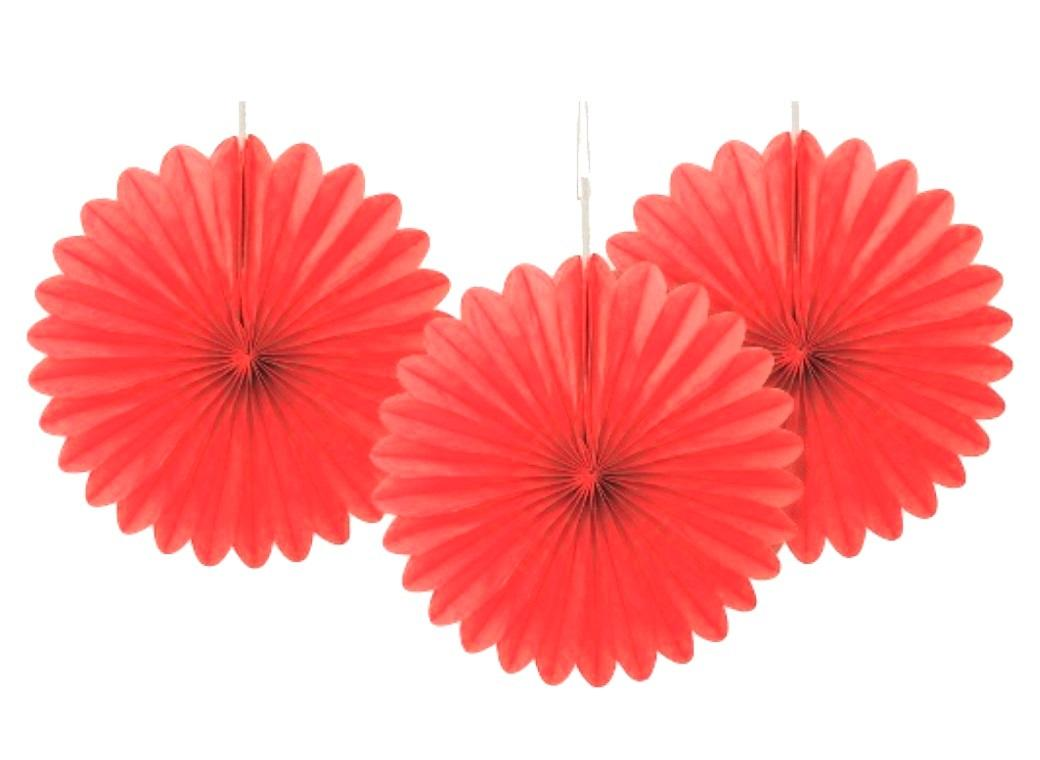 3 Pack Tissue Fans - Red
