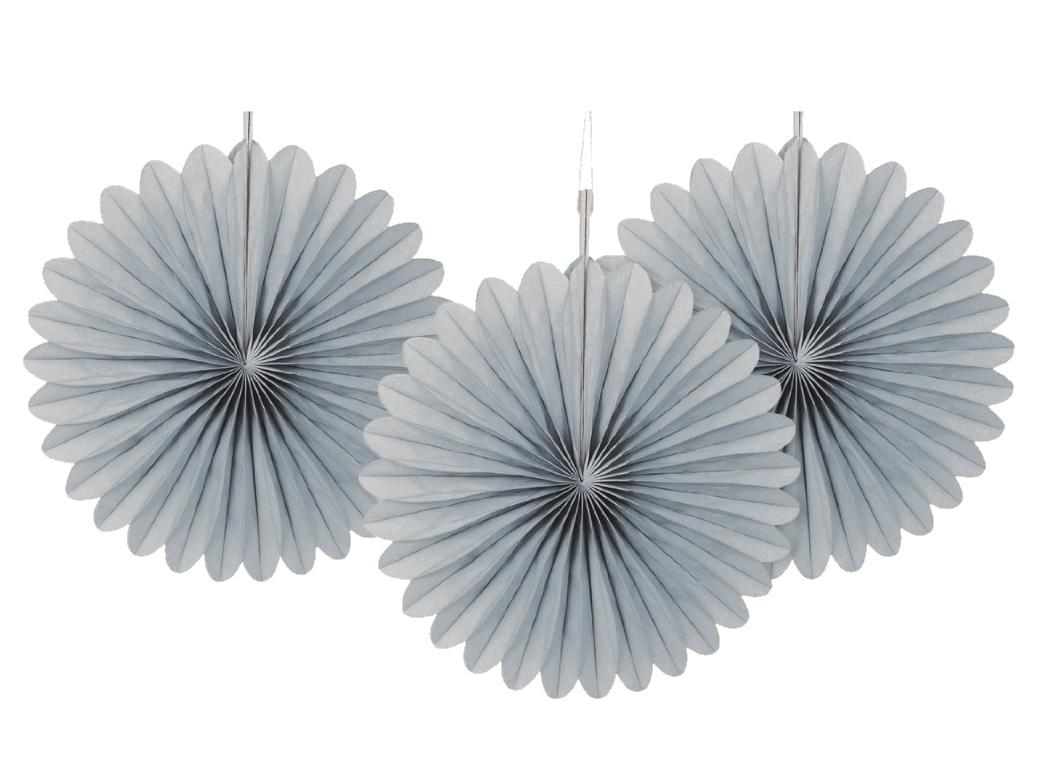 3 Pack Tissue Fans - Silver