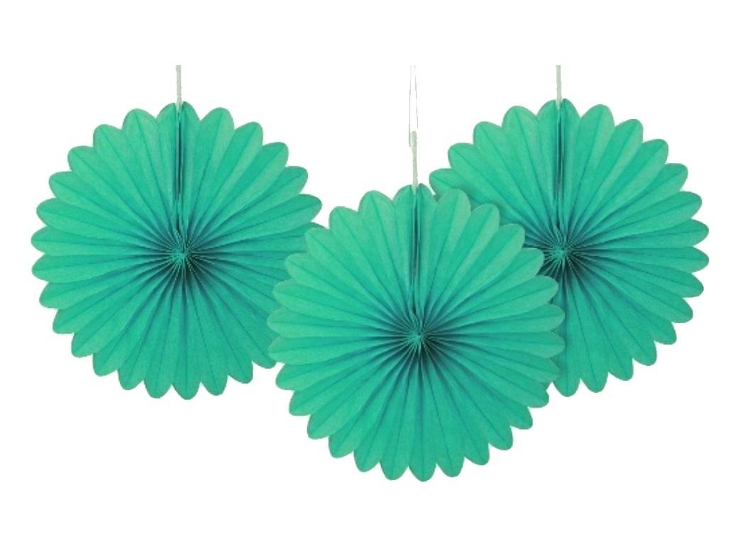 3 Pack Tissue Fans - Teal