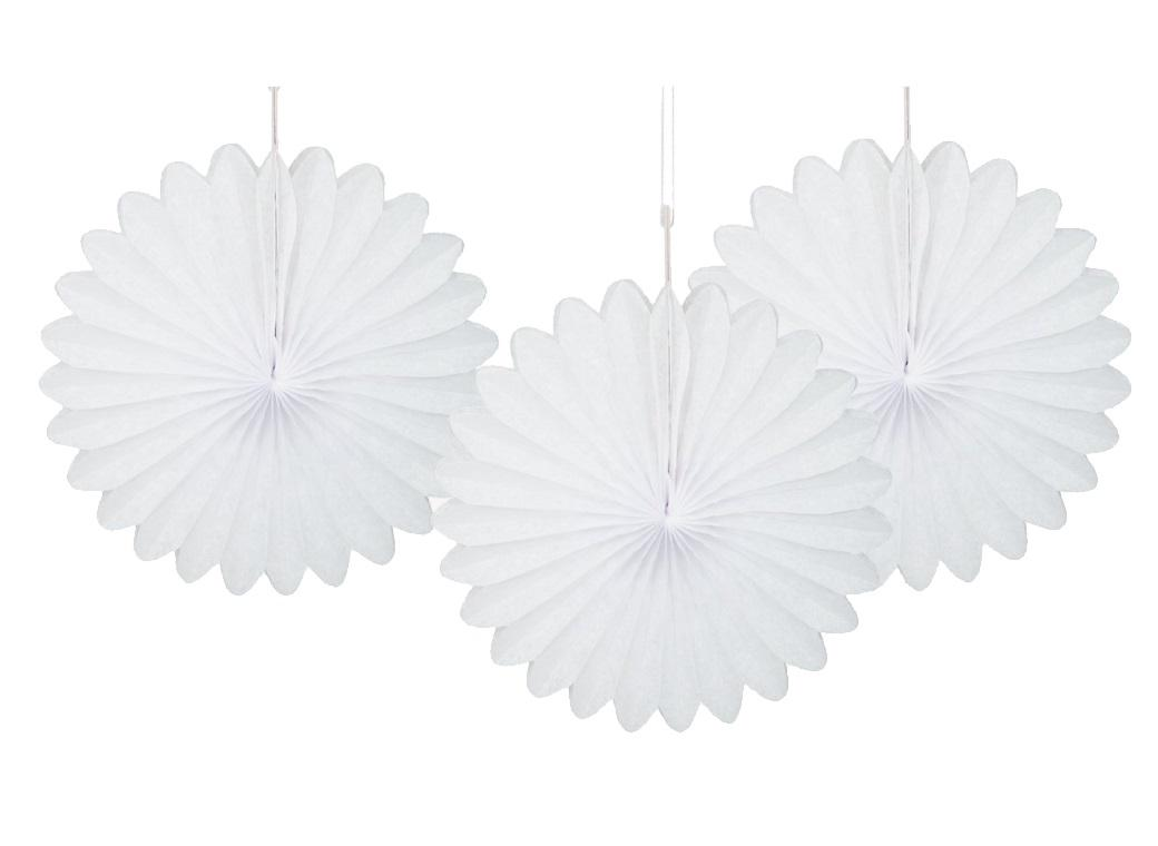 3 Pack Tissue Fans - White