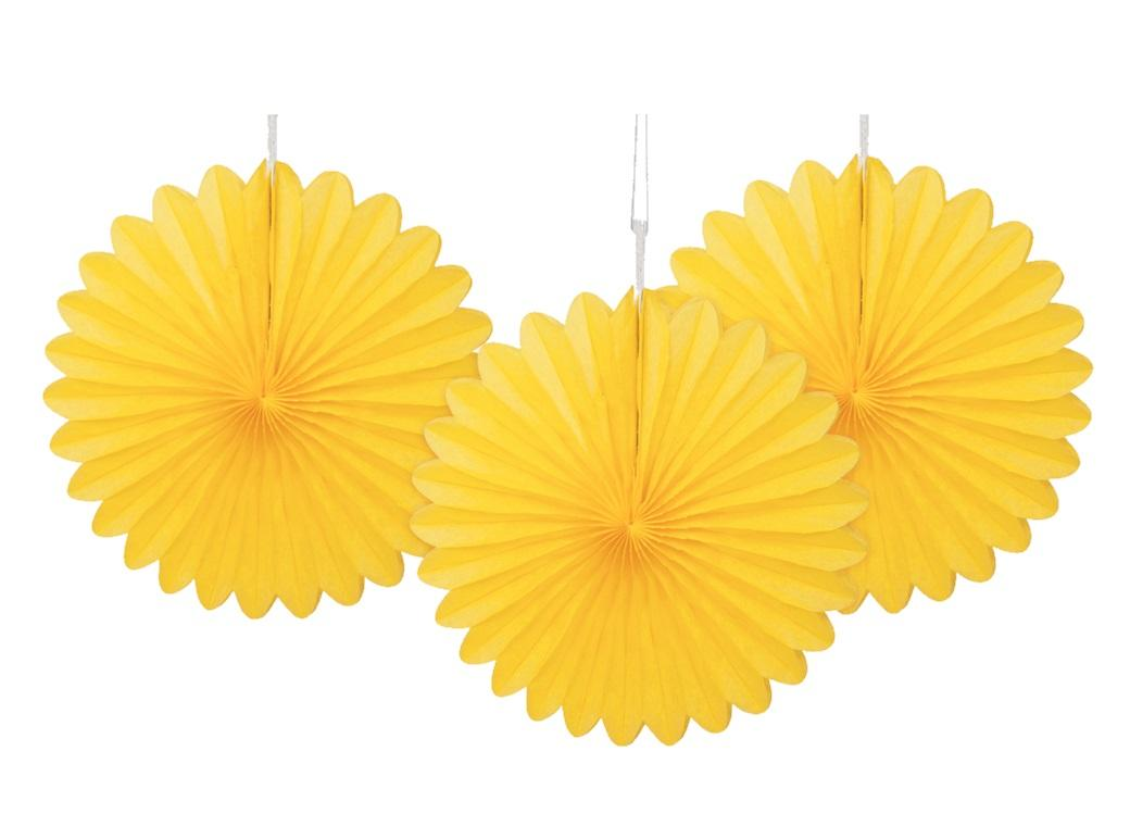 3 Pack Tissue Fans - Yellow