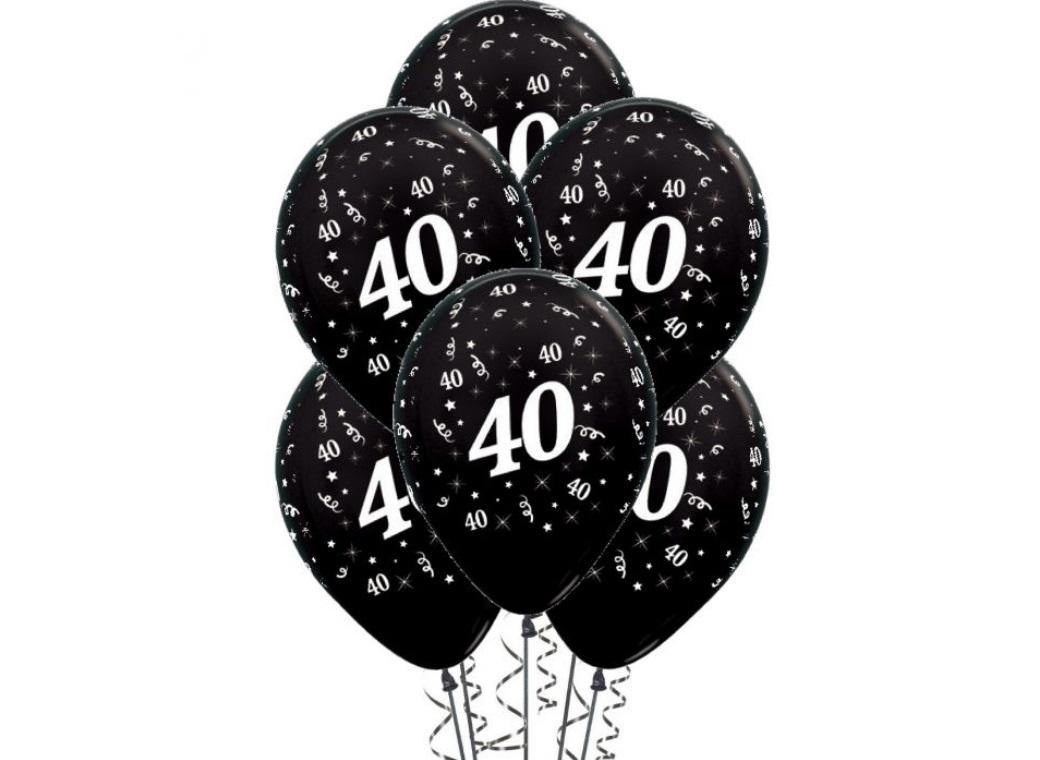 40th Birthday Balloons - Black 6pk