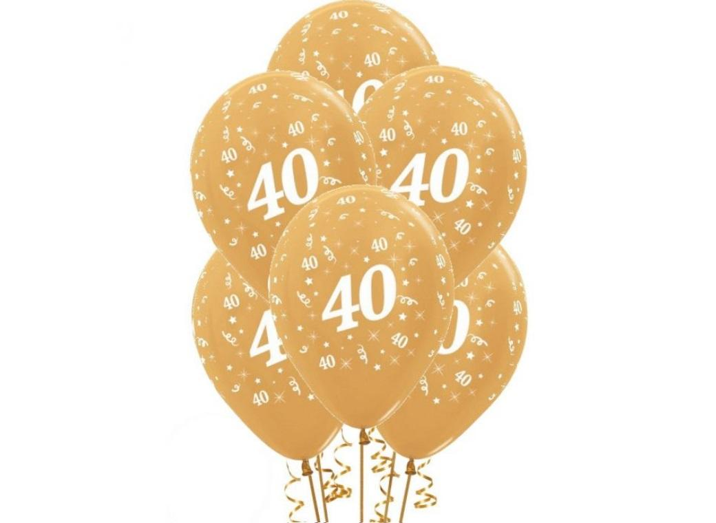 40th Birthday Balloons - Gold 6pk