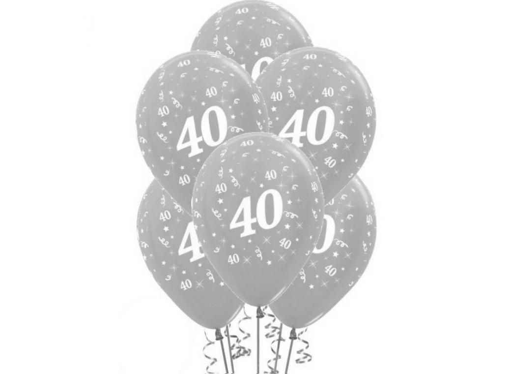 40th Birthday Balloons - Silver 6pk