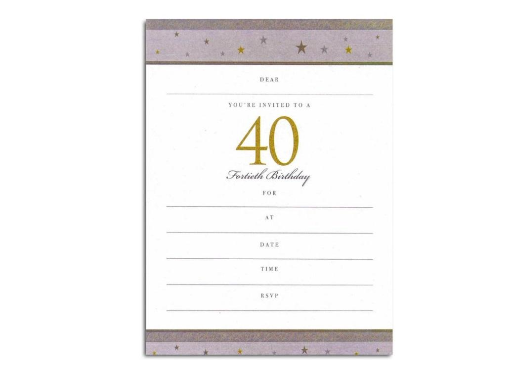 40th Birthday Invitations - Gold Stars