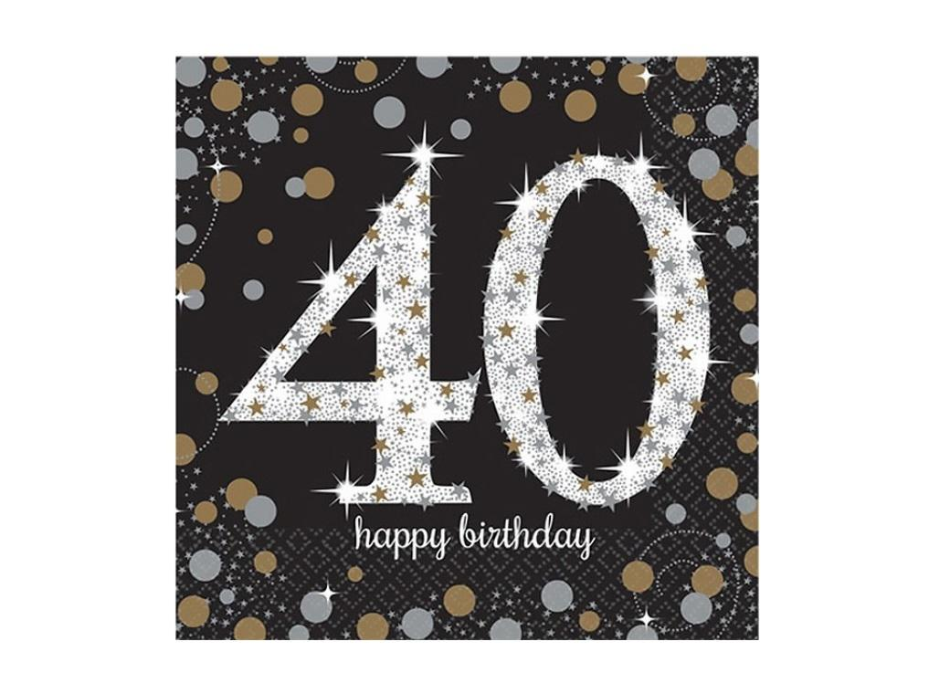 Sparkling 40th Birthday Lunch Napkins 16pk