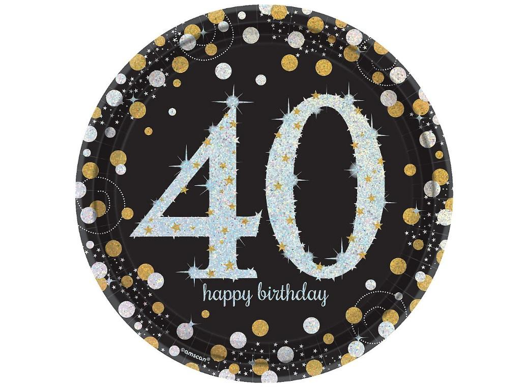Sparkling 40th Birthday Plates 8pk