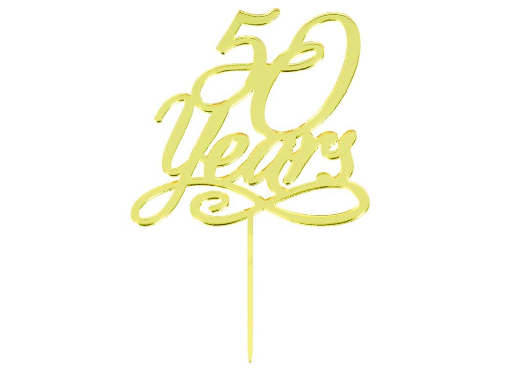 50 Years Gold Cake Topper