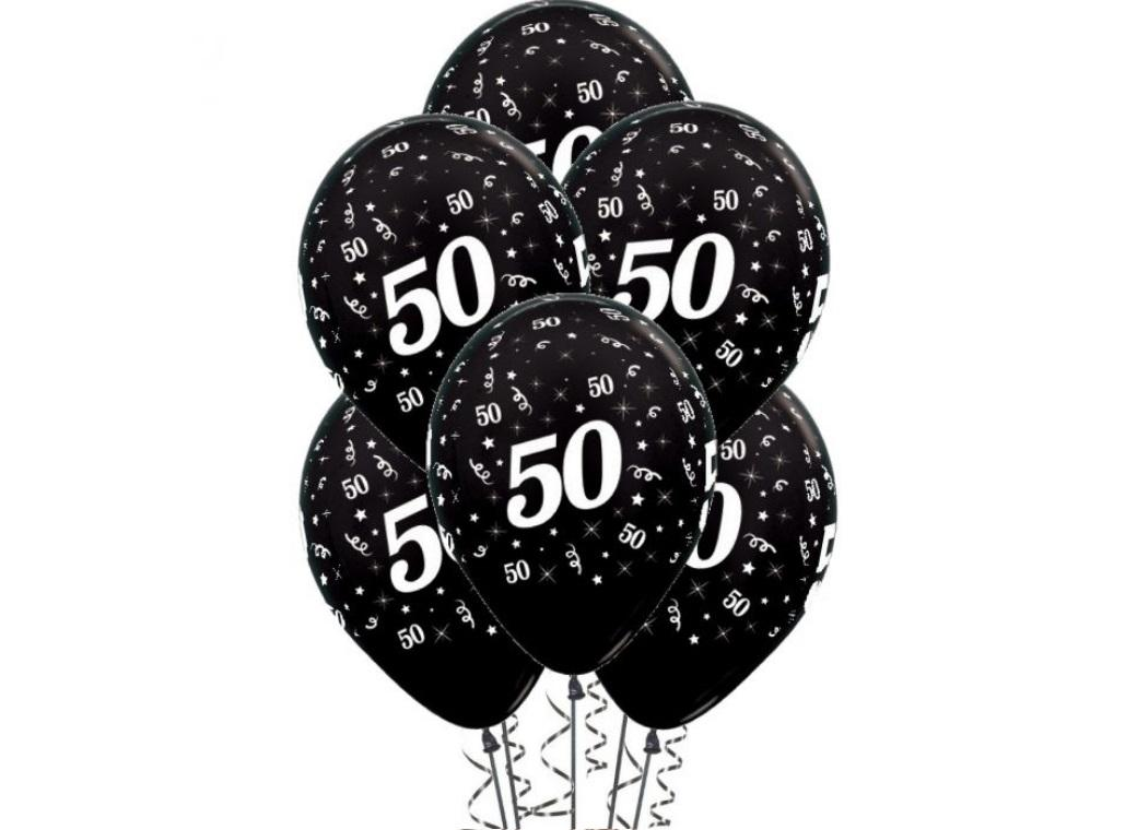 50th Birthday Balloons - Black 6pk