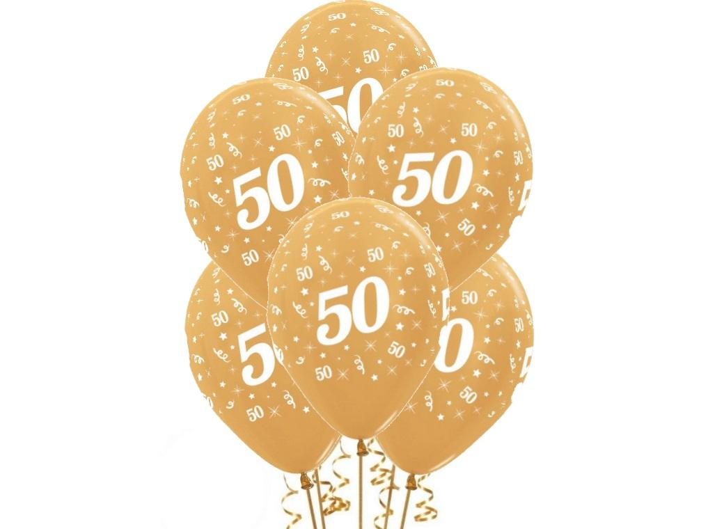 50th Birthday Balloons - Gold 6pk