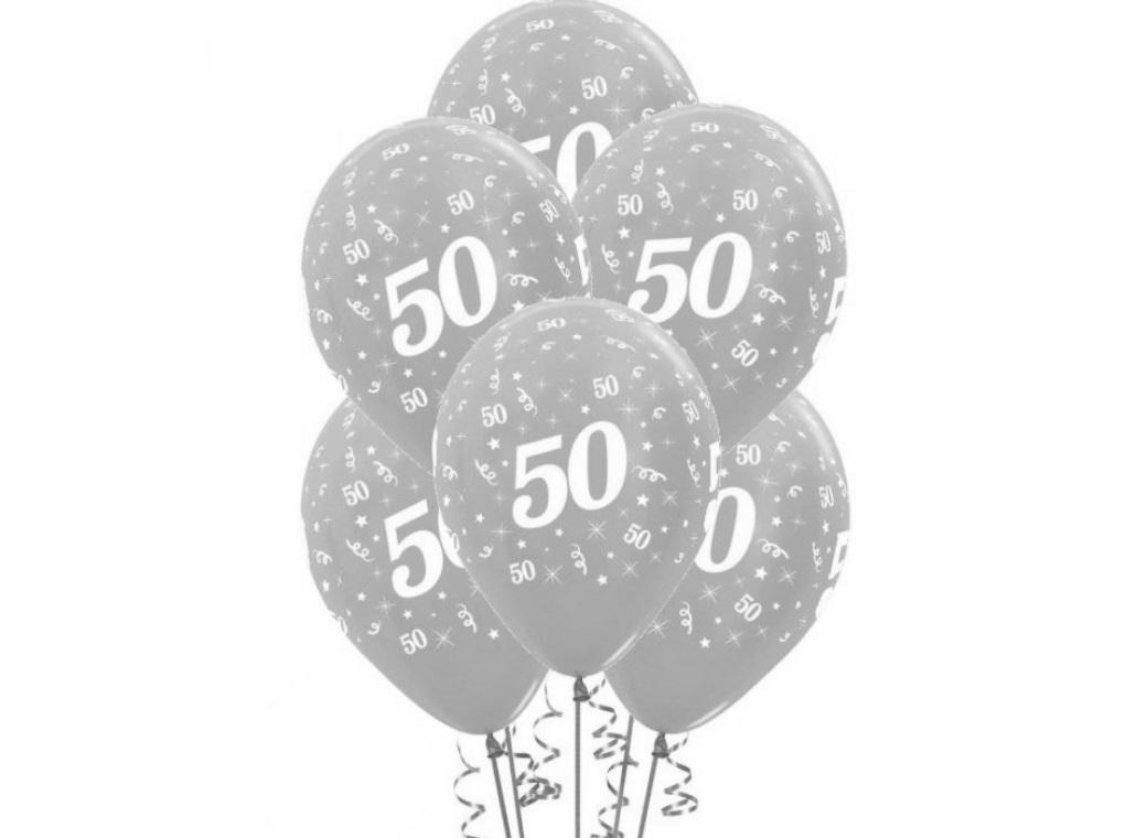 50th Birthday Balloons - Silver 6pk