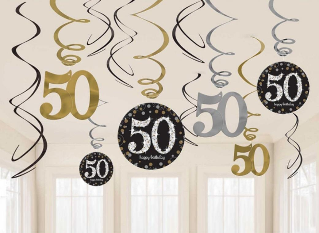 Sparkling 50th Birthday Hanging Swirls