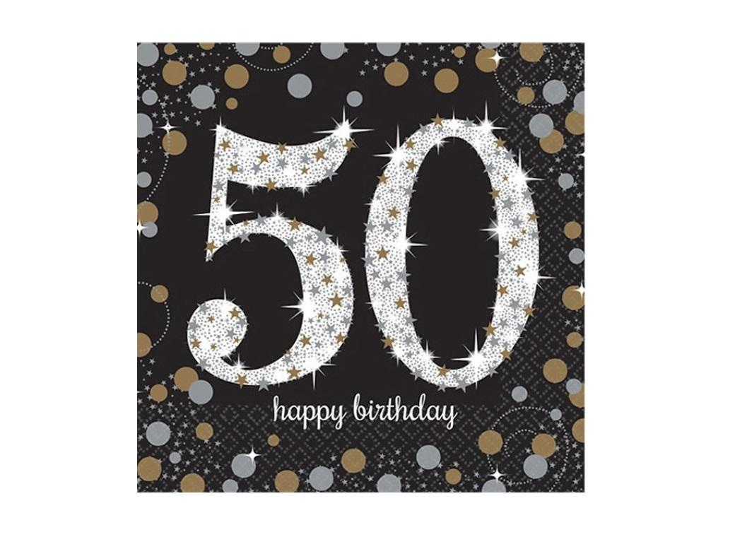 Sparkling 50th Birthday Lunch Napkins 16pk