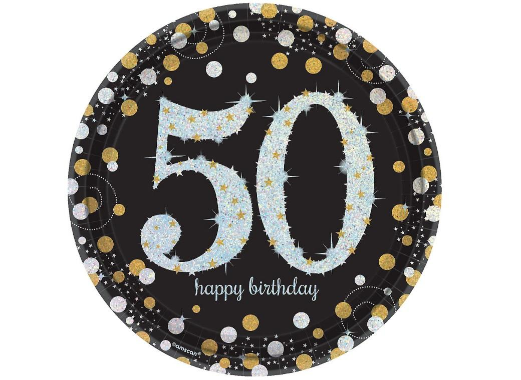 Sparkling 50th Birthday Plates 8pk